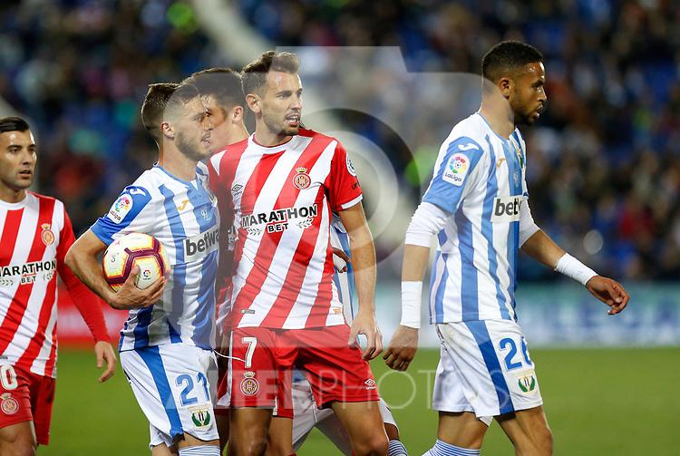 Girona FC's Cristhian Stuani and Leganes CD's Youssef En-Nesyri during La Liga match. March 16, 2019. (ALTERPHOTOS/Manu R.B.)