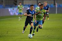 SAN JOSE, CA - OCTOBER 18: Cristian Espinoza #10 of the San Jose Earthquakes during a game between Seattle Sounders FC and San Jose Earthquakes at Earthquakes Stadium on October 18, 2020 in San Jose, California.