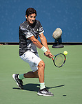 Cristian Garin plays at the US Open being played on August  29, 2019 at Billie Jean King National Tennis Center in Flushing, Queens, NY.  ©Jo Becktold