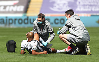 17th April 2021; Liberty Stadium, Swansea, Glamorgan, Wales; English Football League Championship Football, Swansea City versus Wycombe Wanderers; Andre Ayew of Swansea City receives treatment early in the first half before being substituted