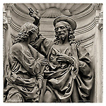 A bronze statue by Andrea del Verocchio in a niche of the Orsanmichele in Florence, Italy