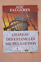 Chateau des Estanilles. In Lentheric village. Faugeres. Languedoc. France. Europe.