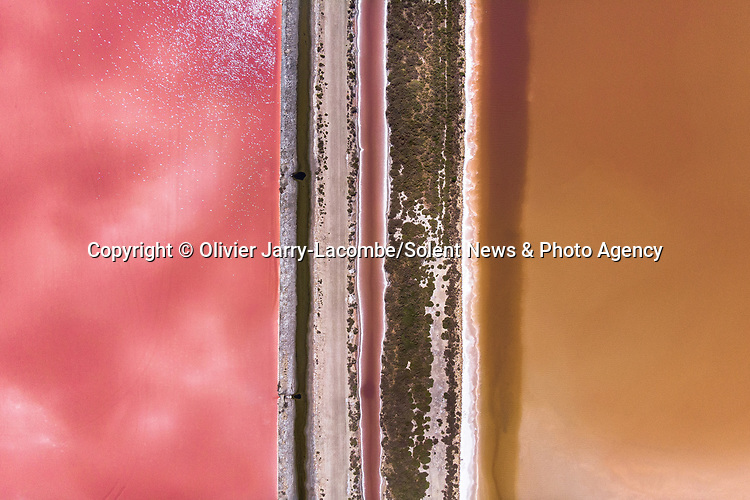 A series of aerial photographs show a brightly coloured salt marsh landscape.  Algae in the water, which grow throughout the year, transform the water from green to pink and then red.<br /> <br /> The beautiful images were captured by landscape photographer Olivier Jarry-Lacombe, in the south of the Carmargue, in France.  SEE OUR COPY FOR DETAILS.<br /> <br /> Please byline: Olivier Jarry-Lacombe/Solent News<br /> <br /> © Olivier Jarry-Lacombe/Solent News & Photo Agency<br /> UK +44 (0) 2380 458800