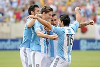 Argentina defender Federico Fernandez (17) celebrates his score with temmates. The Argentina National Team defeated Brazil 4-3 at MetLife Stadium, Saturday July 9 , 2012.