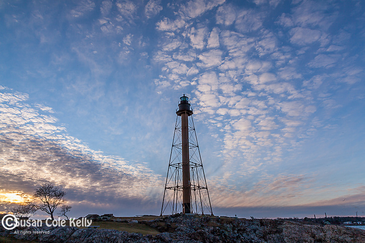 Marblehead Light at sunset in Candler Hovey Park, Marblehead, MA, USA