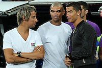 Real Madrid's Cristiano Ronaldo, Fabio Coentrao and Pepe during the XXXVII Bernabeu trophy between Real Madrid and Stade de Reims at the Santiago Bernabeu Stadium. August 15, 2016. (ALTERPHOTOS/Rodrigo Jimenez) /NORTEPHOTO