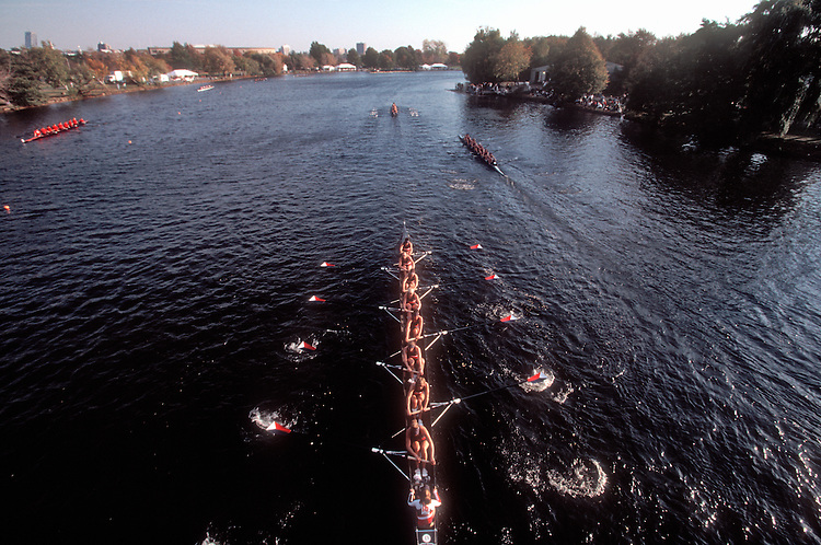 Rowing, Head of the Charles Regatta, US Women's National Rowing Team eight, Charles River, Cambridge, Massachusetts, New England, USA,