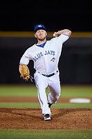 Dunedin Blue Jays relief pitcher Travis Bergen (29) delivers a pitch during a game against the Fort Myers Miracle on April 17, 2018 at Dunedin Stadium in Dunedin, Florida.  Dunedin defeated Fort Myers 5-2.  (Mike Janes/Four Seam Images)