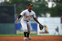 West Virginia Black Bears third baseman Ke'Bryan Hayes (3) during a game against the Batavia Muckdogs on August 31, 2015 at Dwyer Stadium in Batavia, New York.  Batavia defeated West Virginia 5-4.  (Mike Janes/Four Seam Images)