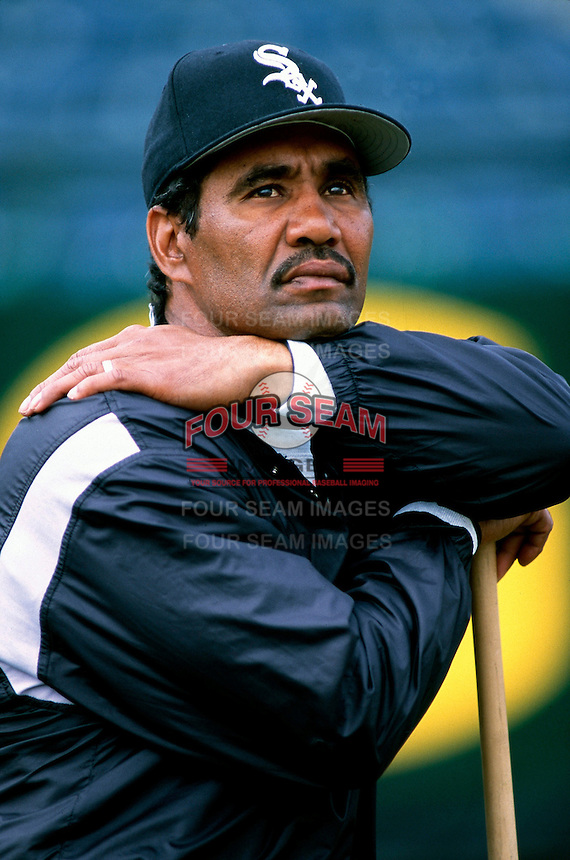 Chicago White Sox Manager Jerry Manuel participates in a Major League Baseball Spring Training game during the 1998 season in Phoenix, Arizona. (Larry Goren/Four Seam Images)