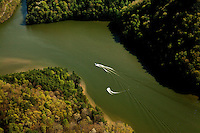 Aerial photography of and around Watauga Lake, Tenn., taken April 2011. Surrounded by the Cherokee National Forest, the vast majority of Watauga Lake's shoreline and surrounding mountains is undeveloped and pristine. Even during busy holiday weekends (photo taken on Easter weekend 2011) the large lake is rarely busy with boaters.