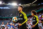 09.08.2019, Merkur Spiel-Arena, Düsseldorf, GER, DFB Pokal, 1. Hauptrunde, KFC Uerdingen vs Borussia Dortmund , DFB REGULATIONS PROHIBIT ANY USE OF PHOTOGRAPHS AS IMAGE SEQUENCES AND/OR QUASI-VIDEO<br /> <br /> im Bild | picture shows:<br /> Jadon Sancho (Borussia Dortmund #7) auf dem Weg zum warmmachen, <br /> <br /> Foto © nordphoto / Rauch