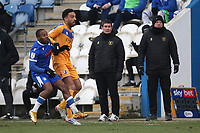 Mansfield Town manager Nigel Clough (C) during Colchester United vs Mansfield Town, Sky Bet EFL League 2 Football at the JobServe Community Stadium on 14th February 2021