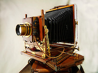 Thornton Pickard Half Plate wooden View Camera with film slides