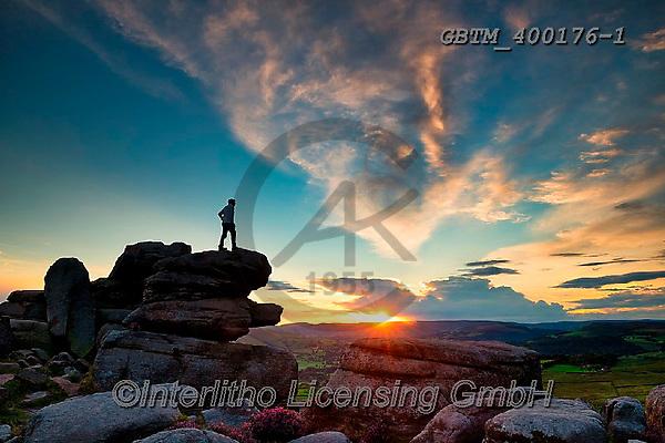 Tom Mackie, LANDSCAPES, LANDSCHAFTEN, PAISAJES, photos,+Britain, British, Derbyshire, England, English, Europe, European, Great Britain, Peak District National Park, Surprise View,+Tom Mackie, UK, blue, cirrus, cloud, clouds, cloudscape, dramatic outdoors, horizontal, horizontals, lone, man, national park+rocky, rugged, scenic, single person, sunburst, sunrise, sunrises, sunset, sunsets, time of day, tor, weather, weather & tim+e of day,Britain, British, Derbyshire, England, English, Europe, European, Great Britain, Peak District National Park, Surpr+,GBTM400176-1,#l#, EVERYDAY