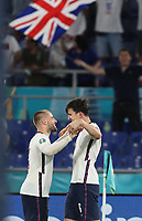 3rd July 2021, Stadio Olimpico, Rome, Italy;  Euro 2020 Football Championships, England versus Ukraine quarter final;   Harry Maguire  of England celebrates with teammate Luke Shaw