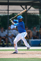 GCL Blue Jays shortstop Luis De Los Santos (1) at bat during a game against the GCL Pirates on July 20, 2017 at Bobby Mattick Training Center at Englebert Complex in Dunedin, Florida.  GCL Pirates defeated the GCL Blue Jays 11-6 in eleven innings.  (Mike Janes/Four Seam Images)