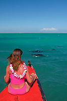 reef manta ray, Mobula alfredi, feeding in lagoon, brown noddy, and woman snorkeler, Kiritimati or Christmas Island, Line Islands, Republic of Kiribati, Pacific Ocean