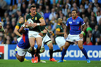 Jesse Kriel of South Africa is tackled in midfield during Match 15 of the Rugby World Cup 2015 between South Africa and Samoa - 26/09/2015 - Villa Park, Birmingham<br /> Mandatory Credit: Rob Munro/Stewart Communications
