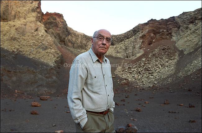 José Saramago in the crater of a vulcano in Lanzarote.