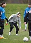 X Factor winner James Arthur spots a loose ball at Rangers training