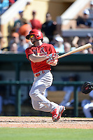 St. Louis Cardinals outfielder Shane Robinson (43) during a spring training game against the Detroit Tigers on March 3, 2014 at Joker Marchant Stadium in Lakeland, Florida.  Detroit defeated St. Louis 8-5.  (Mike Janes/Four Seam Images)