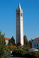 A clear day in the fall at the University of California campus in Berkeley, California. A view of Sather Tower.