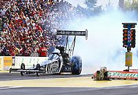 Aug. 4, 2013; Kent, WA, USA: NHRA top fuel dragster driver Shawn Langdon during the Northwest Nationals at Pacific Raceways. Mandatory Credit: Mark J. Rebilas-USA TODAY Sports