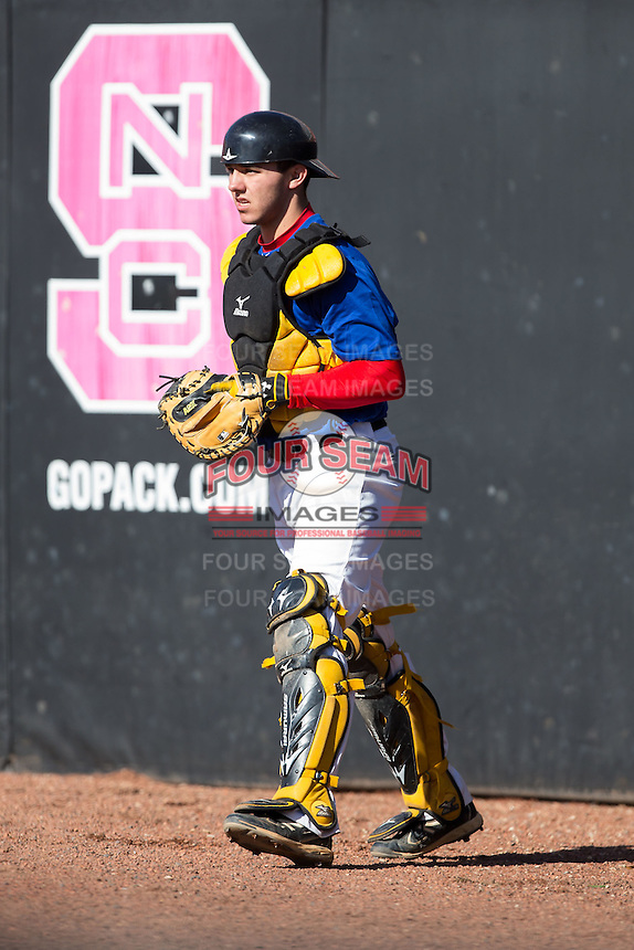 Ryan Sloniger (5) of Punxsutawney High School in Punxsutawney, Pennsylvania playing for the Texas Rangers scout team at the South Atlantic Border Battle at Doak Field on November 2, 2014.  (Brian Westerholt/Four Seam Images)