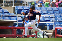 Binghamton Mets third baseman Derrik Gibson (15) scores  a run during a game against the Richmond Flying Squirrels on June 26, 2016 at NYSEG Stadium in Binghamton, New York.  Binghamton defeated Richmond 7-2.  (Mike Janes/Four Seam Images)