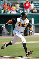 Jacksonville Suns outfielder Carlos Lopez (7) in action during a game against the Pensacola Blue Wahoos at Bragan Field on the Baseball Grounds of Jacksonville on May 11, 2015 in Jacksonville, Florida. Jacksonville  defeated Pensacola 5-4. (Robert Gurganus/Four Seam Images)