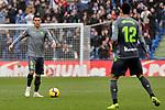 Getafe CF's Damian Suarez and Real Sociedad's Hector Moreno (L) and Willian Jose Da Silva (R) during La Liga match between Getafe CF and Real Sociedad at Coliseum Alfonso Perez in Getafe, Spain. December 15, 2018. (ALTERPHOTOS/A. Perez Meca)