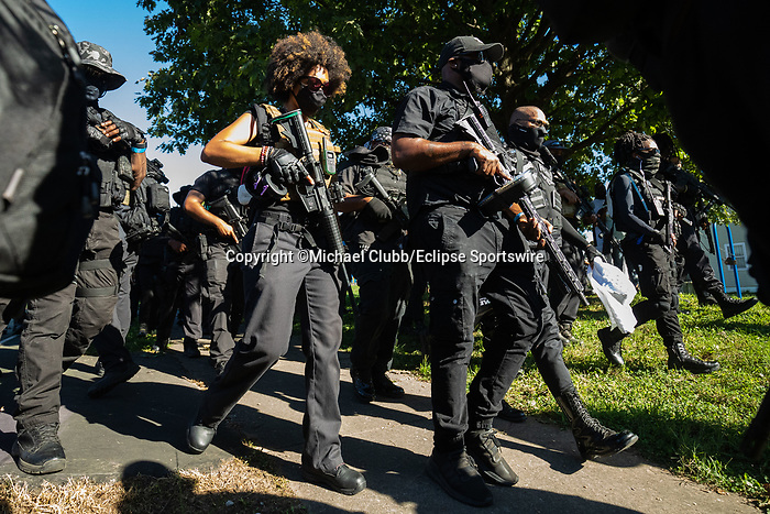 """September 5, 2020:  Members of the NFAC leave G.G. Moore Park and head towards Churchill Downs. With the Kentucky Derby being the biggest sports event for the State of Kentucky, protestors have chosen the  event as a focal point for their calls for justice in the death of Breonna Taylor. Multiple groups from around the country have converged on Louisville to protest during the """"Run for the Roses"""" at Churchill Downs in Louisville. Michael Clubb/Eclipse Sportswire/CSM"""