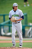 Lynchburg Hillcats starting pitcher Eli Morgan (34) gets ready to deliver a pitch during the first game of a doubleheader against the Frederick Keys on June 13, 2018 at Nymeo Field at Harry Grove Stadium in Frederick, Maryland.  Frederick defeated Lynchburg 3-0.  (Mike Janes/Four Seam Images)