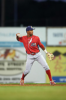 Williamsport Crosscutters second baseman Luis Espiritu, Jr. (33) during a game against the Batavia Muckdogs on September 2, 2016 at Dwyer Stadium in Batavia, New York.  Williamsport defeated Batavia 9-1. (Mike Janes/Four Seam Images)