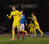 Fleetwood Town's Harry Souttar celebrates scoring his side's second goal <br /> <br /> Photographer David Horton/CameraSport<br /> <br /> The EFL Sky Bet League One - Portsmouth v Fleetwood Town - Tuesday 10th March 2020 - Fratton Park - Portsmouth<br /> <br /> World Copyright © 2020 CameraSport. All rights reserved. 43 Linden Ave. Countesthorpe. Leicester. England. LE8 5PG - Tel: +44 (0) 116 277 4147 - admin@camerasport.com - www.camerasport.com