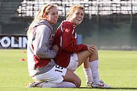 COLLEGE STATION, TX - DECEMBER 3:  Katie Finley and Kelley O'Hara of the Stanford Cardinal during Stanford's trip to the NCAA Women's Soccer Championships on December 3, 2009 in College Station, Texas.