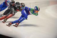 SPEEDSKATING: DORDRECHT: 06-03-2021, ISU World Short Track Speedskating Championships, SF 5000m Men, Pietro Sighel (ITA), Charles Hamelin (CAN), ©photo Martin de Jong
