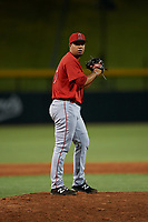 AZL Angels relief pitcher Kelvin Moncion (76) during an Arizona League game against the AZL Cubs 1 on June 24, 2019 at Sloan Park in Mesa, Arizona. AZL Cubs 1 defeated the AZL Angels 12-0. (Zachary Lucy / Four Seam Images)