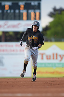West Virginia Black Bears right fielder Bligh Madris (17) running the bases during a game against the Batavia Muckdogs on June 26, 2017 at Dwyer Stadium in Batavia, New York.  Batavia defeated West Virginia 1-0 in ten innings.  (Mike Janes/Four Seam Images)