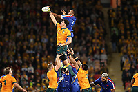 17th July 2021; Brisbane, Australia;  France's Cameron Woki challenges to win a lineout during the Australia versus France, 3rd Rugby Test at Suncorp Stadium, Brisbane, Australia on Saturday 17th July 2021.