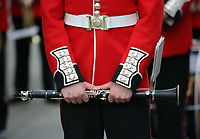 Pictured: A clarinet held by a Welsh Guard as he parades through Castle Square in Swansea.  Friday 15 September 2017<br />