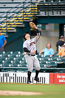Jupiter Hammerheads first baseman John Silviano (22) catches a popup during a game against the Bradenton Marauders on May 25, 2018 at LECOM Park in Bradenton, Florida.  Jupiter defeated Bradenton 3-2.  (Mike Janes/Four Seam Images)