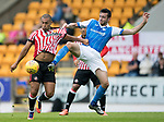 St Johnstone v Sunderland…15.07.17… McDiarmid Park… Pre-Season Friendly<br />James Vaughan battles with Jo Shaughnessy<br />Picture by Graeme Hart.<br />Copyright Perthshire Picture Agency<br />Tel: 01738 623350  Mobile: 07990 594431