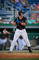 Batavia Muckdogs Nic Ready (3) at bat during a NY-Penn League game against the Lowell Spinners on July 10, 2019 at Dwyer Stadium in Batavia, New York.  Batavia defeated Lowell 8-6.  (Mike Janes/Four Seam Images)