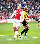 Nederland, Amsterdam, 19 april 2015<br /> Eredivisie<br /> Seizoen 2014-2015<br /> Ajax-NAC Breda (0-0)<br /> Viktor Fischer van Ajax baalt van een gemiste kans