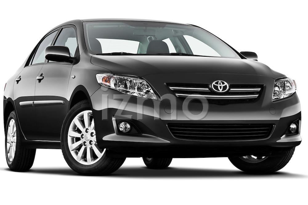 Low aggressive passenger side front three quarter view of a 2010 Toyota Corolla Linea Sol 4 Door Sedan.