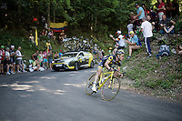 Thomas Voeckler (FRA/DirectEnergie) 'catching flies' on the way down from the Grand Colombier<br /> <br /> stage 15: Bourg-en-Bresse to Culoz (160km)<br /> 103rd Tour de France 2016