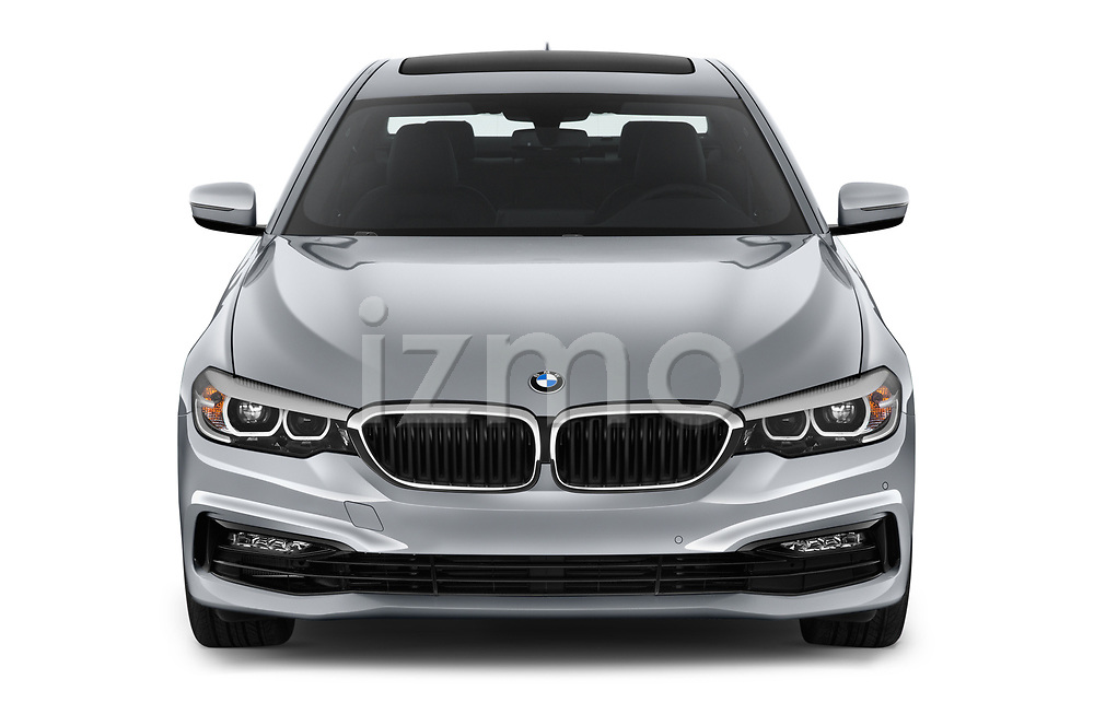 Car photography straight front view of a 2018 BMW 5 Series Sport 4 Door Sedan