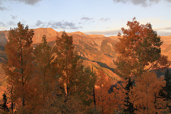 View from Telluride Mountain, San Juan Mountains at sunset, Telluride, Colorado.